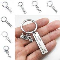 Rostfritt stål Drive Safe Keychain Tag Love Jag behöver dig KeyRing Väska hänger Safe Driving Women Mens Fashion Smycken Will och Sandy Gift