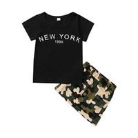 Filles Noir T-shirts + CamouflagesKirts Jeu de tenues Été 2021 Enfants Vêtements de boutique 1-4T Children Fashion 2 PC Costumes