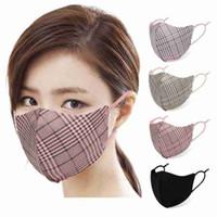Mode Plaid Masques visage unisexe respirant de protection bouche Masque lavable réutilisable Masque réglable en suède Tissu Designer Masques CYZ2624
