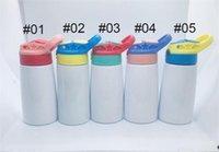12 oz 5 Estilos de sublimação Crianças Sippy Cup em branco Vacuum Bottle Flask água de aço inoxidável com palha para casa e jardim