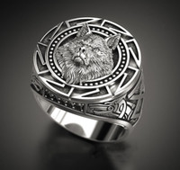 Vintage Silver Plated Relief Wolf Head Ring For Mens Gothic ...