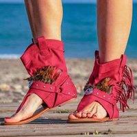 Sandalet 2021 Yaz Kadın Retro Püskül Bayanlar Tüy Flip Flop Kadın Roma Terlikleri için Rahat Klip Toe Ayakkabı Artı Boyutu