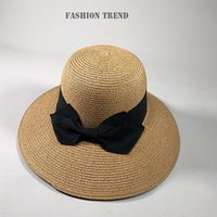 Summer Floppy Straw Sun Hat With Big Bow Women Wide Brim Beach Bucket Hats UV Protection Caps For Girls