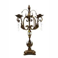 Los titulares nórdica Alto Candelabro antiguo retro del metal del ornamento 4 Brazo vela velas decoración del hogar de la boda de las piezas centrales FC415