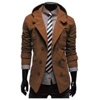الرجال خندق معطف جديد تصميم الأزياء الرجال سترة واقية معطف الخريف الشتاء مزدوجة الصدر يندبروف سليم خندق الرجال زائد الحجم