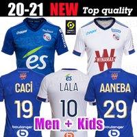 20 21 camisas de futebol RC Strasbourg CRIANÇAS ALSACIA Maillot de pé Strasbourg Alsácia 2020 2021 maillots de KITS pé Thomasson LALA MOTHIBA