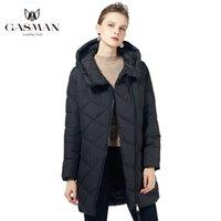 Gasman 2020 Siyah Fermuar İnce Kış Giyim Kadın Ceket Moda Kapşonlu Pembe Coat Kadın Sıcak Parkas Uzun Ceket Ceket 18806