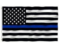 150 * 90 cm Unterstand dünne blaue Linie Streifen USA Flaggen Ösen Polizei Polizisten Fahnen Schwarze weiße blaue Flaggen