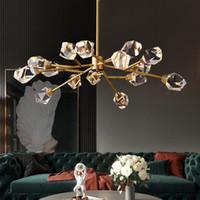 Latón metal contemporánea de la lámpara LED de iluminación nórdica Lustre Cristal Pendente Deco colgante de interior de la lámpara de la sala de estar