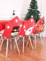 Weihnachtsdekoration Stuhlhussen Speisesitzweihnachtsmann Startseite Party Decor Old Man Elk Schneemann-Partei Hocker Set Dekor Weihnachten verziert JK1910XB