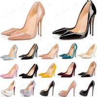 горячий красных нижние моды высоких каблуков для партии женщин свадьбы тройной черного обнаженных желтой розового блеск шипы носки Насосы платье обуви