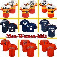 Houston Erkekler Kadınlar Çocuklar 27 Jose Altuve Justin Verlander George Springer Nolan Ryan 7 Craig Biggio Jeff Bagwell 2 Alex Bregman Beyzbol Forması