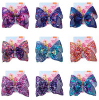 8 pulgadas JOJO SIWA BIG BOW PELIGHT HEARMAID SERMAID SCALES DESIGNADORES Plaena Clips Barrette Baby Girls Play Clip Con Tabud de papel Accesorios D82708