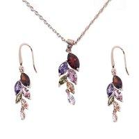 Frauen Faux-Kristallrhinestone-Blatt baumeln Ketten-Halskette Ohrringe eleganten Wassertropfen-Anhänger Schmuck-Set-Party Hochzeit Accessorie