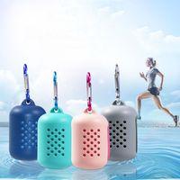 El secado rápido enfriamiento de microfibra toalla portátil de refrigeración instantánea alivio de gimnasia de los deportes Yoga Pilates Running bolsa de viaje de silicona VT1486 Toalla