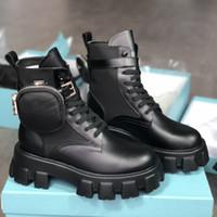 Nuove donne Rois Boots Nylon Derby Martin Boots Top Quality Battle Cuoio Scarpe per caviglia in pelle nera Suola in gomma Platform Shoes Sacchetto di nylon con scatola