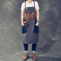 Work Apron Retro Washed Distressed Canvas First Layer Cow Le...