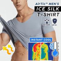 Feitong été Hauts Hommes T-shirt à manches courtes col en V de refroidissement Respirant Ice Silk Quick Dry Top T-shirt solide