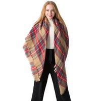 Colorfu térmica señoras de la bufanda de cachemira otoño Invierno imitación de doble cara impresa tela escocesa de la raya de la Plaza de la bufanda de la borla clásico mantón VT1684