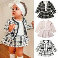 Princess Suit Cardigan + Skirt two-piece Suit Designers Kids Clothes Baby Long Sleeve Sweaters Dress Autumn Children Plaid print SALE D82802