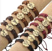 Doze constelações pulseiras de couro envoltório de couro pulseira de couro do zodíaco para homens