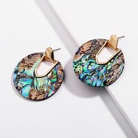 Kendra Style Design New Collection Statement Round Disc Abalone Shell Dangle Drop Earrings Collection Stunning Weightless Jewelry Earrings