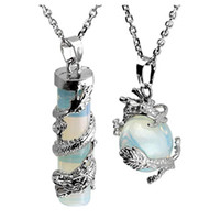 10 Pcs Chinese Dragon Pendant Wrap Crystal Cylinder Many Colors Quartz Stone Necklace Ball Beads Link Chain Silver Plated Jewelry