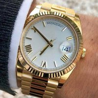 41mm Rose Gold Men Geneva Watch Green Roman mens Luxury Automatic movement designer Daydate Women's Fashion Watches WristWatches 228238
