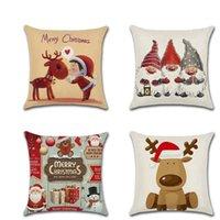 Housse de coussin d'oreiller de bonhomme de neige cerf kussenhoes 45 * 45cm Throw Taie sofa Joyeux Noël Décorations Pour la maison Fundas Cojines
