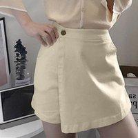 Jeans femininos moda mulheres verão casual doce cuco culottes solta alta cintura botão puro cor larga perna calças festa