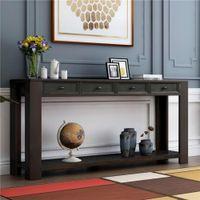 США Stock Для современного дизайна Консольный стол Шкафы для прихожей Прихожая диван стол с хранения Тумбы и нижней полкой (черный) WF189615AAB