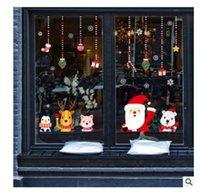 2021 뜨거운 판매 크리스마스 장식 유리 스티커 창 상점 창 장식 산타 클로스 눈송이 장식 펜던트 스티커 027