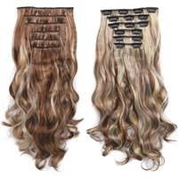 6Pcs / Set Toupet 140G geschweiften 16 Clips in der False Styling Haar Synthetic Clip in Haarverlängerungen Hitzebeständige