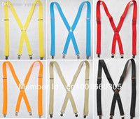 Adultos Atacado-Mens Suspensórios mulheres suspensórios Clip-on X-Back das cintas elásticas suspensórios, preto Cores sólidas