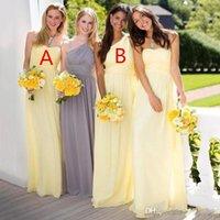 2020 Elegant Chiffon Lange Brautjungfernkleider für Hochzeit trägerlose Hülle Backless Trauzeugin Abendkleider Günstige Bridesmaids Kleid