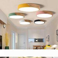 Çok renkli modern led ışık süper ince 5 cm katı ahşap tavan lambaları oturma odası yatak odası mutfak aydınlatma cihazı için
