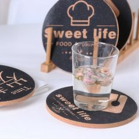 Mats Pads Wooden Cork Cup Holder Placemat Silk Screen Printy Anti-Scalding Värmeisolering Hushållspot Para1