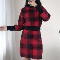 Etek Bayan 2PCS Triko Elbise Dişiler Giyim Ekose Baskı Tasarımcı 2PCS Elbiseler Moda Vintage Kasetli Uzun Kollu Kısa Womens