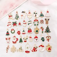 Misti 38 pc / fascini Set di Natale del gocciolamento dell'olio gioielli in perline Serie orecchini DIY dei pendenti incanta il Babbo Natale del pupazzo di neve a sospensione