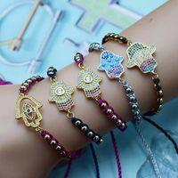 فاخر الزركون العين فاطمة سوار السعفة الذهبية للمرأة قوس قزح الزركون أساور قابل للتعديل مجوهرات الأزياء بوهو الخريف 2020