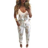 Frauen 2 Zweiteiler Sommer Sexy Cami Tank Top Hosen Set Blatt drucken mit V-Ausschnitt Backless Reißverschluss hinten Weste Hosen 2pcs der beiläufigen Ausstattung