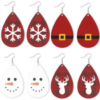 Christmas water- drop earrings leather Plaid Elk Print earrin...