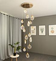 Led crystal chandelier  loft duplex pendant lights villa hotel modern ceiling lamps staircase round LED decorative lamp