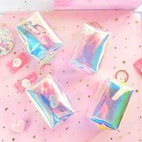 Cor de doces bonito Mini bolsas Mulheres meninas miúdos Laser Coin carteira pequena Bag Bolsa Kawaii Limpar dinheiro Mude a bolsa Keychain