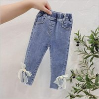 New Autumn Children Clothing Girls Denim Jeans Long Pant Bow...