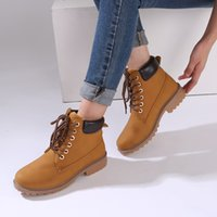 Teahoo 2020 Autumn Ankle Boots für Frauen schnüren sich oben Nubukleder Stiefel Freizeit Fashion Round Toe Timber Boots Frauen Plus Size 9 10 CX200822