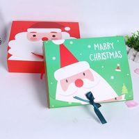 عشية عيد الميلاد الكبيرة علبة هدية سانتا الجنية تصميم Papercard كرافت الحزب الحالي صالح آخر مربع أحمر أخضر EEA684-A