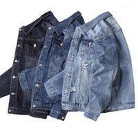 Herren Jacke 19AW Herren Designer-Jacke Art und Weise gewaschene und zerrissener Jean jackest beiläufige lange Hülsen-Revers-Neck