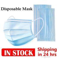 De los Estados Unidos! DHL 24 Horas desechable mascarilla del 3 de capa Máscaras Ear-bucle de la cubierta 3-Ply no tejido-Mask polvo anti PM2,5