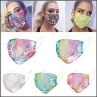 2021 DHL Moda Renkli Örgü Maskeleri Bling Elmas Parti Maskesi Rhinestone Izgara Net Maske Kadınlar Için Yıkanabilir Seksi Hollow Maske
